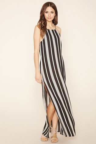 01ab1af396 Forever 21 Contemporary – A woven maxi dress featuring an allover striped  print with adjustable cami straps