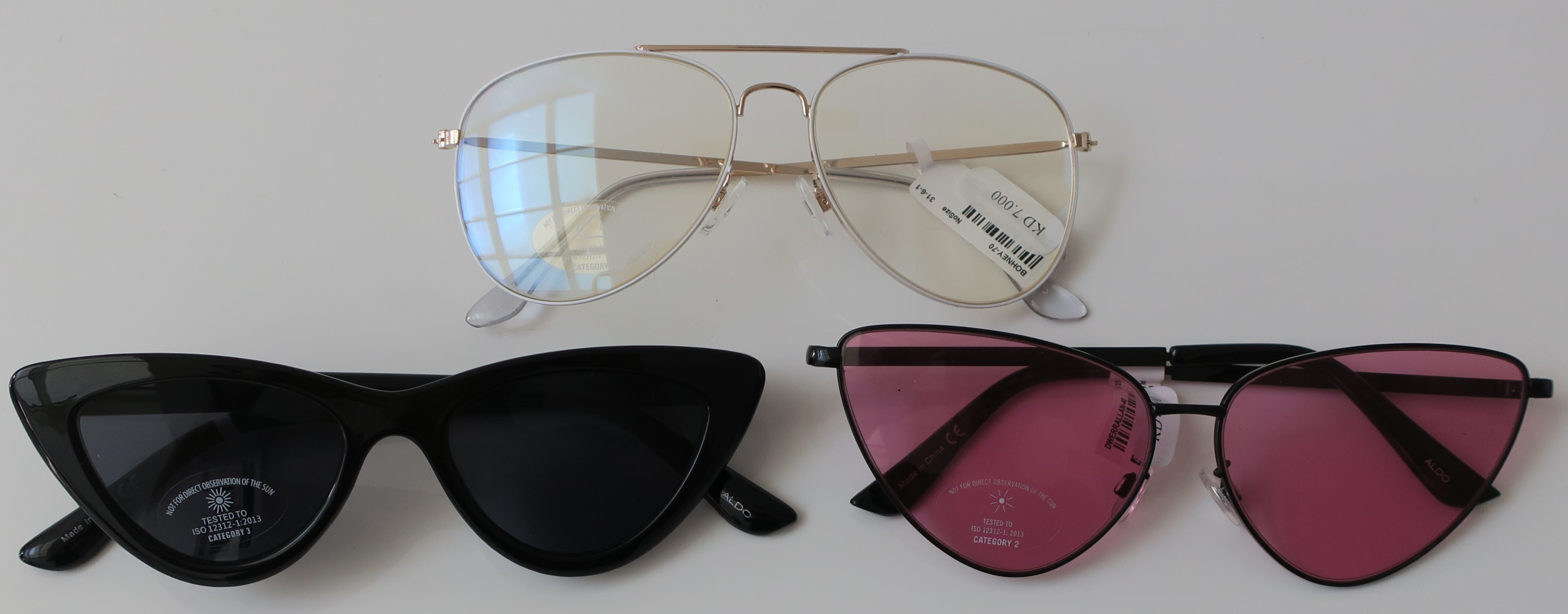 38ebb9b3517e One of the Sunglasses I got was yet another pair of Clear Aviators (so  cool!) while the other two were Cat Eyes (current trend) including one of  those ...