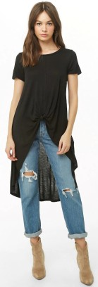 Forever 21 Black Tie-Knot High-Low Tunic